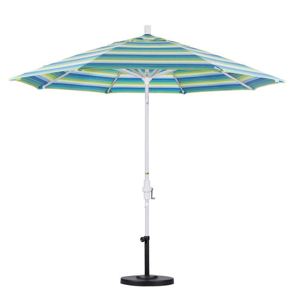 White Aluminum Pole Market Ribs Collar Tilt Crank Lift Patio Umbrella In Seville Seaside Sunbrella