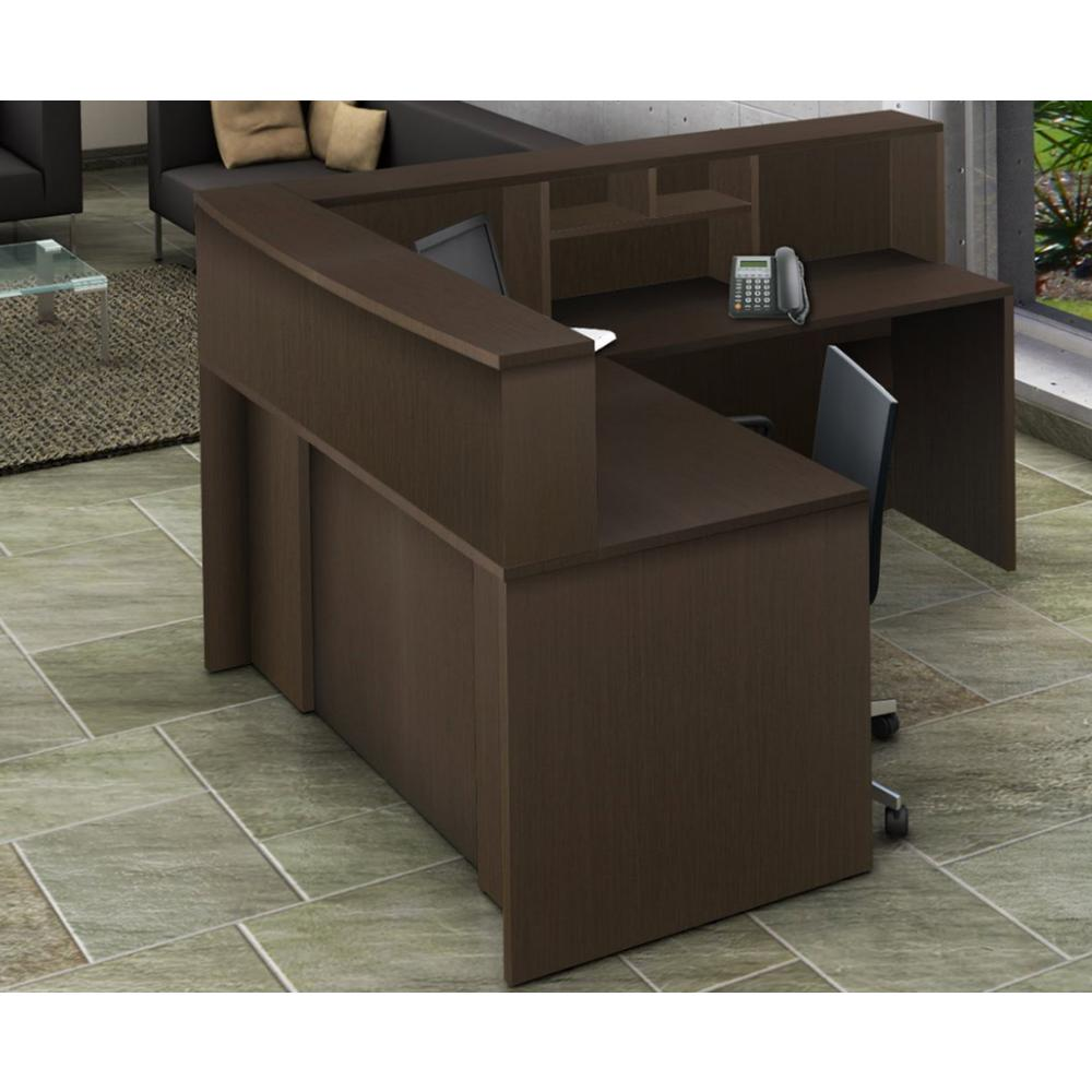 4-Piece Espresso Office Reception Desk Collaboration Center