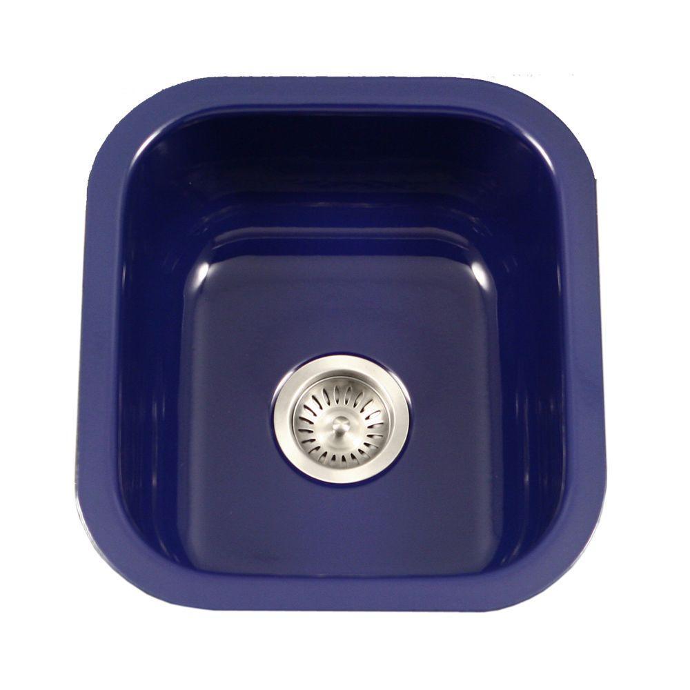 Porcela Series Undermount Porcelain Enamel Steel 16 In Single Bowl Kitchen Sink In Navy Blue