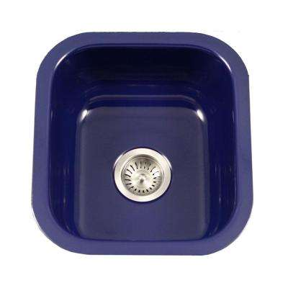Porcela Series Undermount Porcelain Enamel Steel 16 In Single Bowl Kitchen Sink Navy Blue