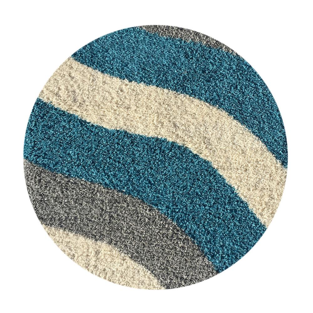 MAXY HOME Bella Collection Turquoise 5 Ft. X 5 Ft. Round
