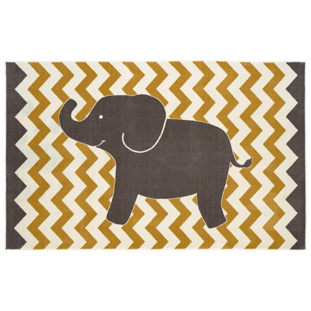 Lucky Elephant Yellow 5 ft. x 8 ft. Area Rug