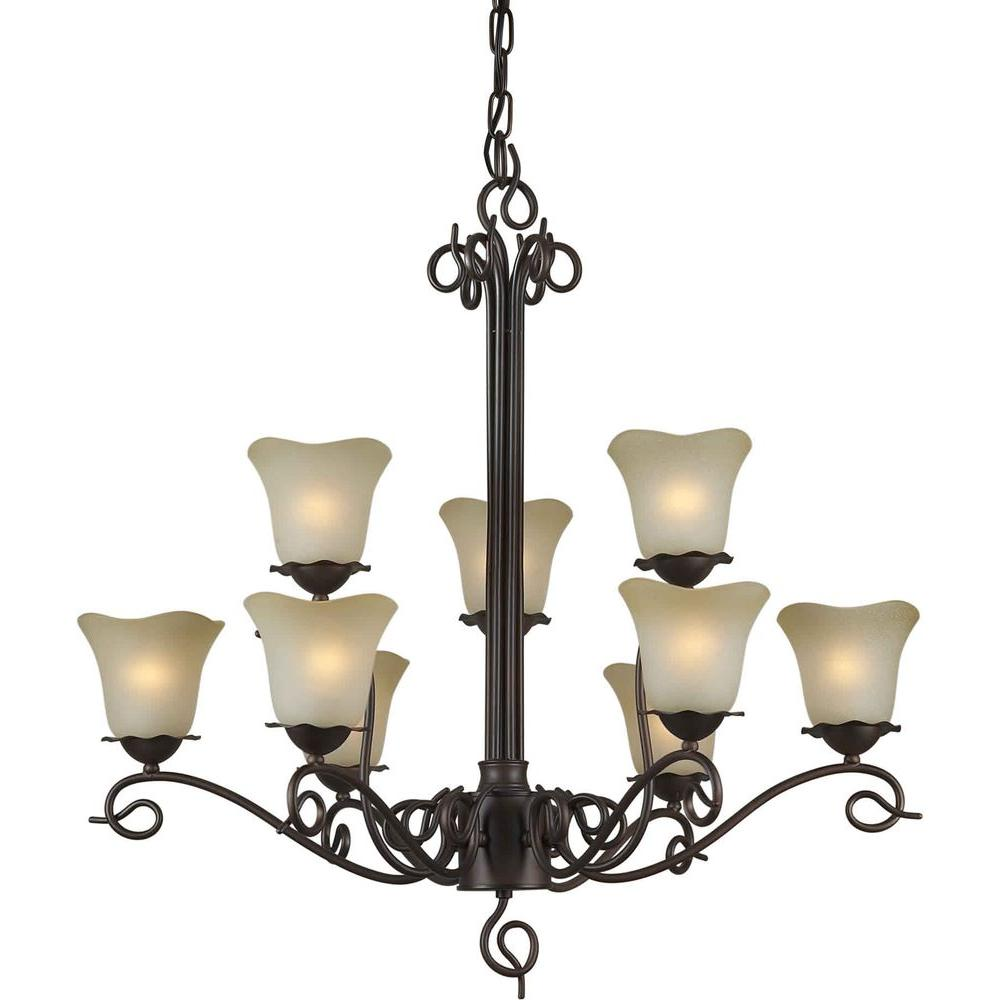 Forte Lighting 9-Light Antique Bronze Chandelier with Umber Glass Shade
