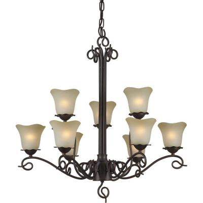 9-Light Antique Bronze Chandelier with Umber Glass Shade