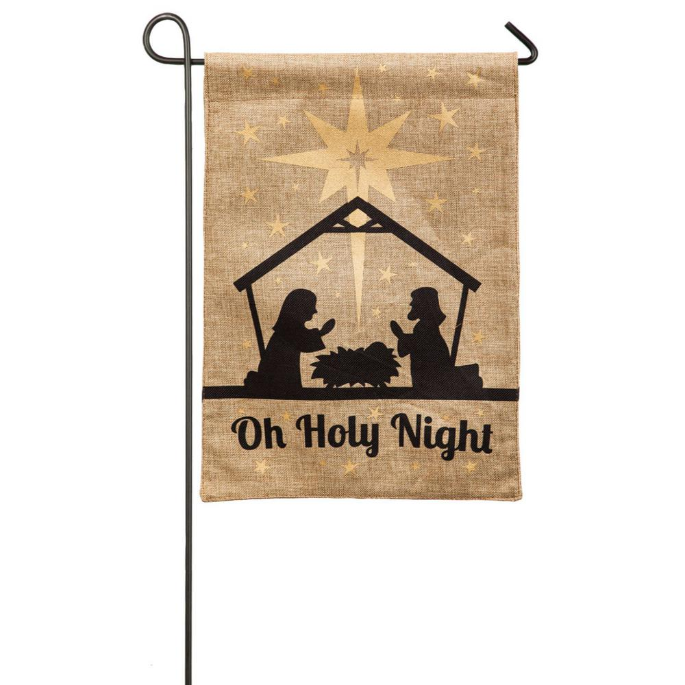 Evergreen 18 in. x 12.5 in. Oh Holy Night Garden Burlap Flag