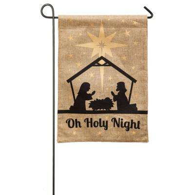 18 in. x 12.5 in. Oh Holy Night Garden Burlap Flag