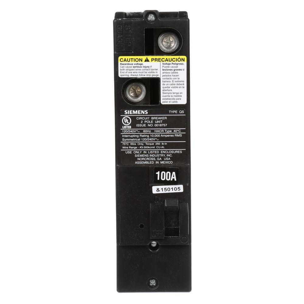 100 Amp Double-Pole 10kA Type QS Multi-Family Main Breaker