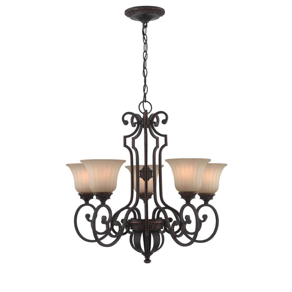 5-Light Antique Bronze Chandelier with Light Amber Glass Shades