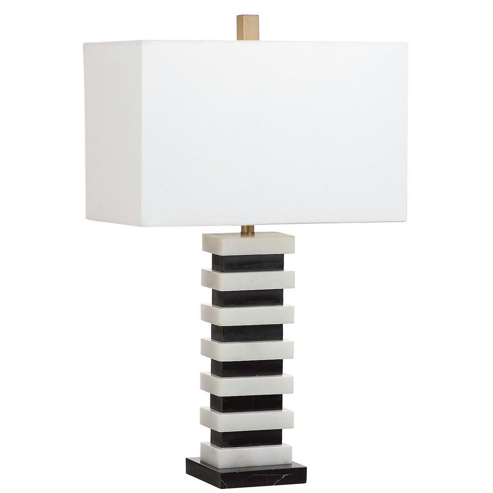 Hugo Marble 26.5 in. Black/White Table Lamp