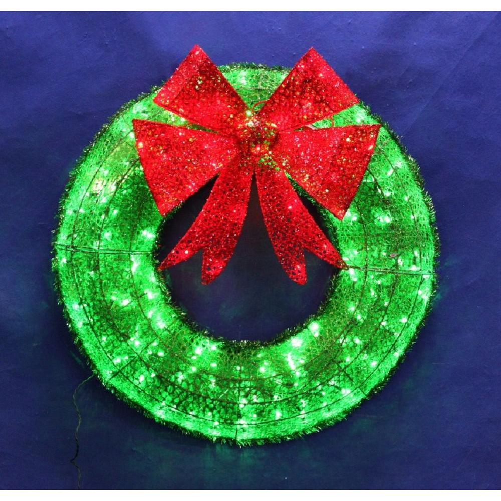 36 In Christmas Green Tinsel Wreath 140 Led Twinkling