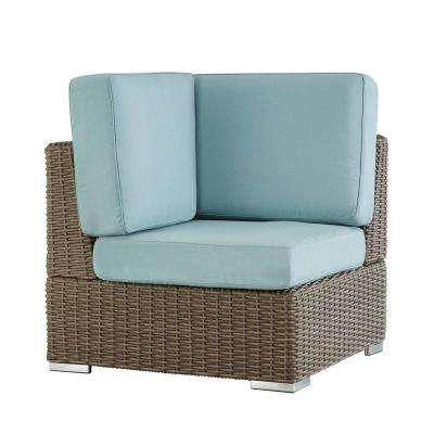 Camari Mocha Wicker Corner Outdoor Sectional Chair with Blue Cushion
