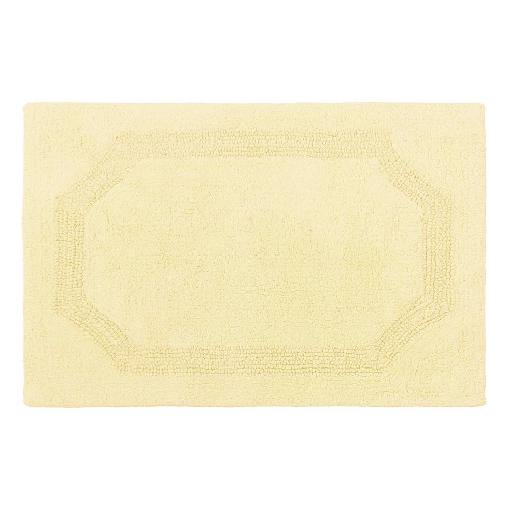 laura ashley reversible yellow 21 in x 34 in cotton bath mat - Cotton Bathroom Mat