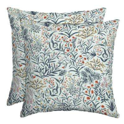 16 in. x 16 in. Pistachio Botanical Outdoor Throw Pillow (2-Pack)
