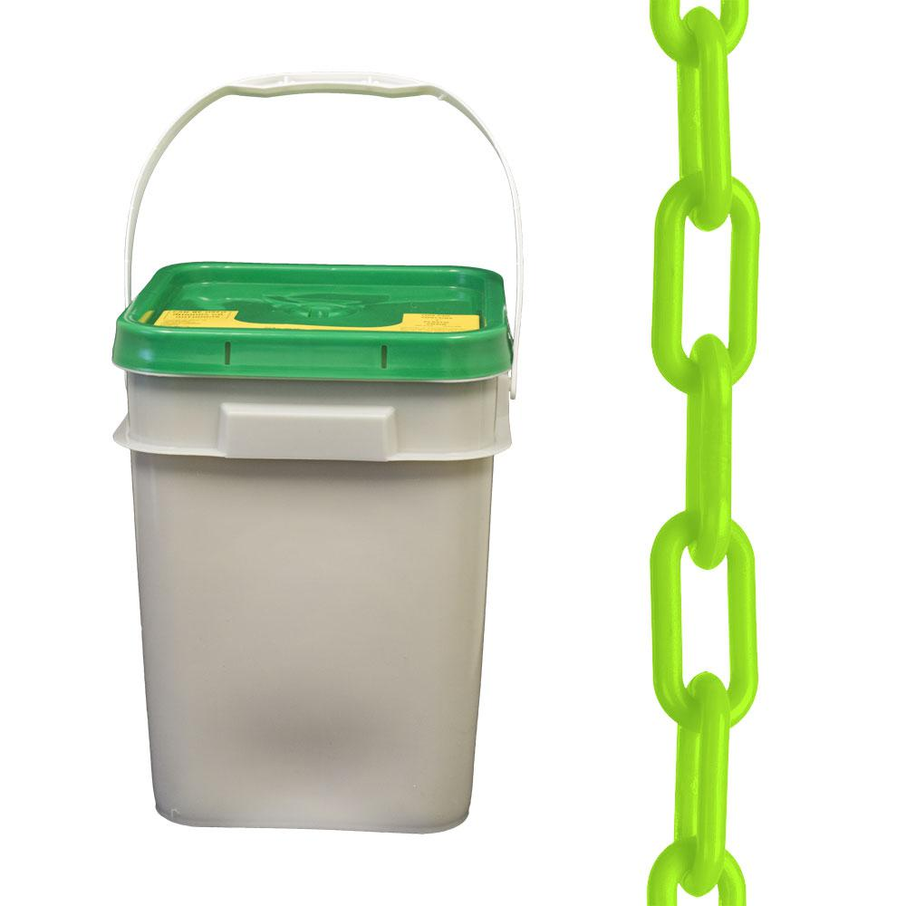 Safety Green 30014-P 300-Foot Length Mr 1.5-Inch Link Diameter Chain Plastic Barrier Chain Pail