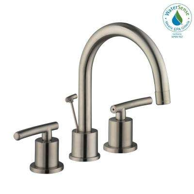 Widespread 2 Handle High Arc Bathroom Faucet In Brushed Nickel