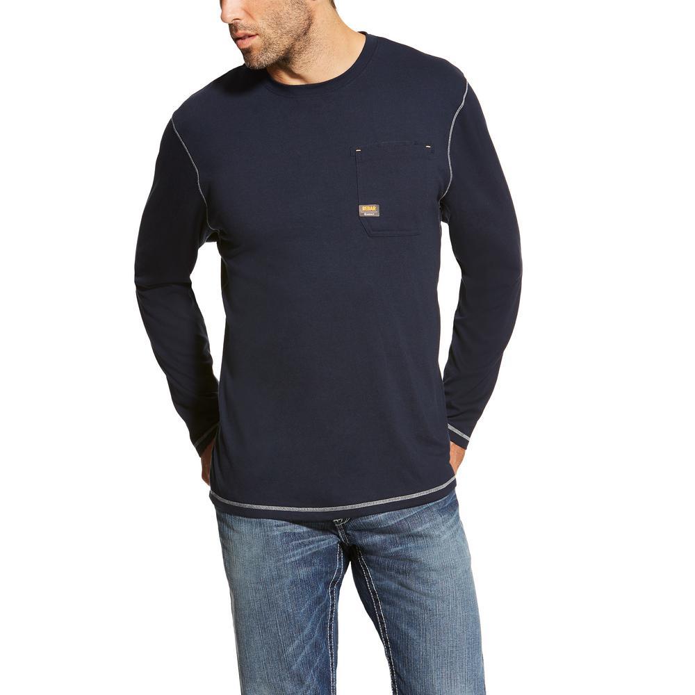 a3688eecbc Ariat Men s Size Medium Navy Rebar Long Sleeve Work T-Shirt-10019058 ...