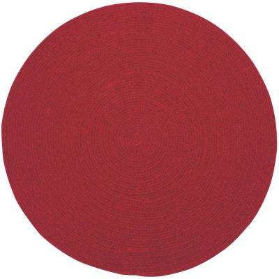 Manteo Dark Red 3 ft. x 3 ft. Round Area Rug