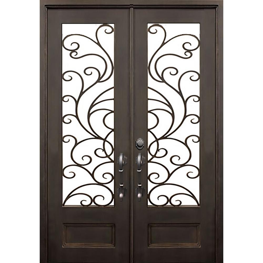 62 in. x 97.5 in. Flat Top Islamorada Dark Bronze Full Lite Painted Wrought Iron Prehung Front Door (Hardware Included)