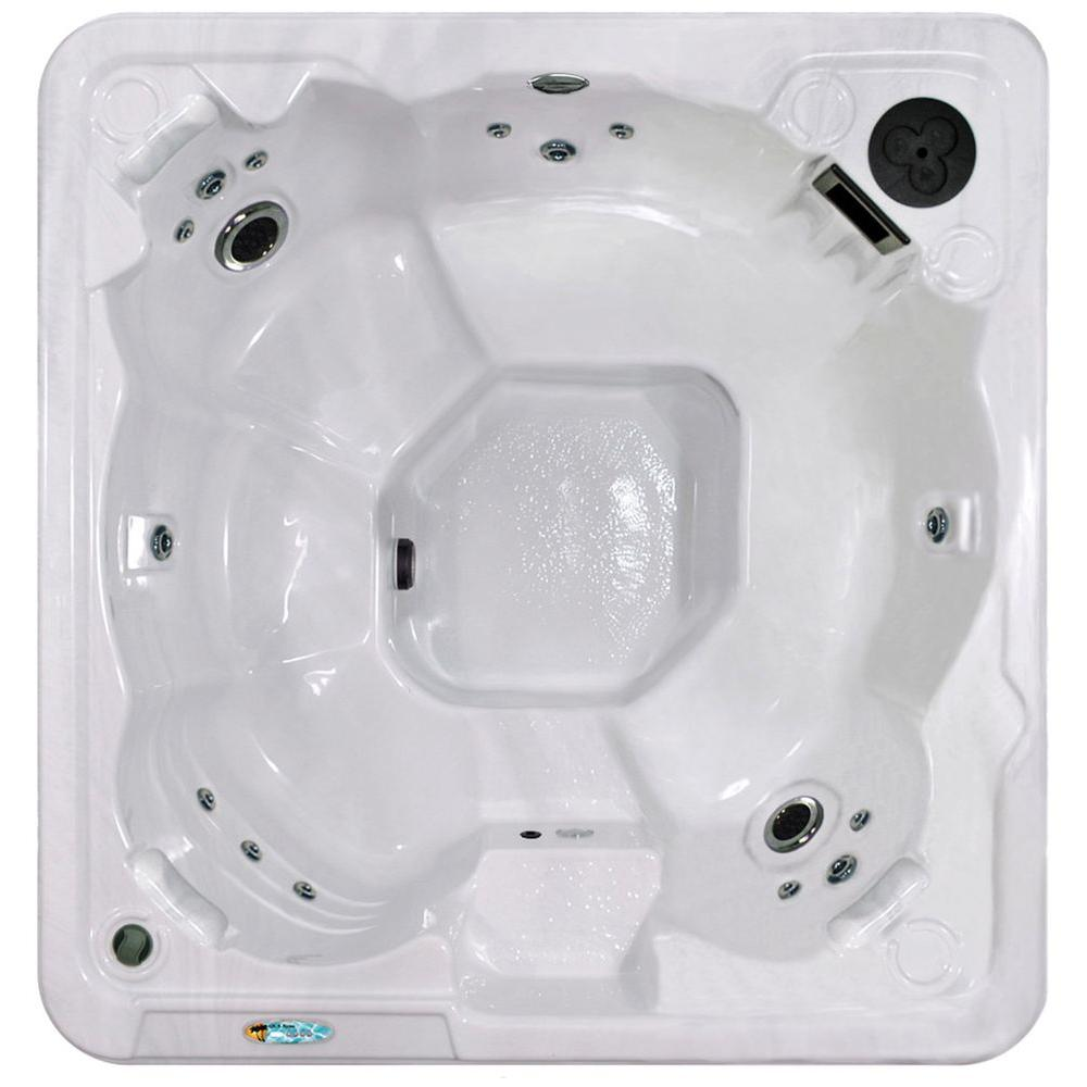 QCA Spas Sarasota Plus 7-Person Plug and Play 31-Stainless Steel Jet Spa with Waterfall, LED Light and Hard Cover