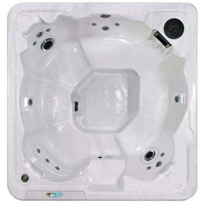 Sarasota Plus 7-Person Plug and Play 31-Stainless Steel Jet Spa with Waterfall, LED Light and Hard Cover