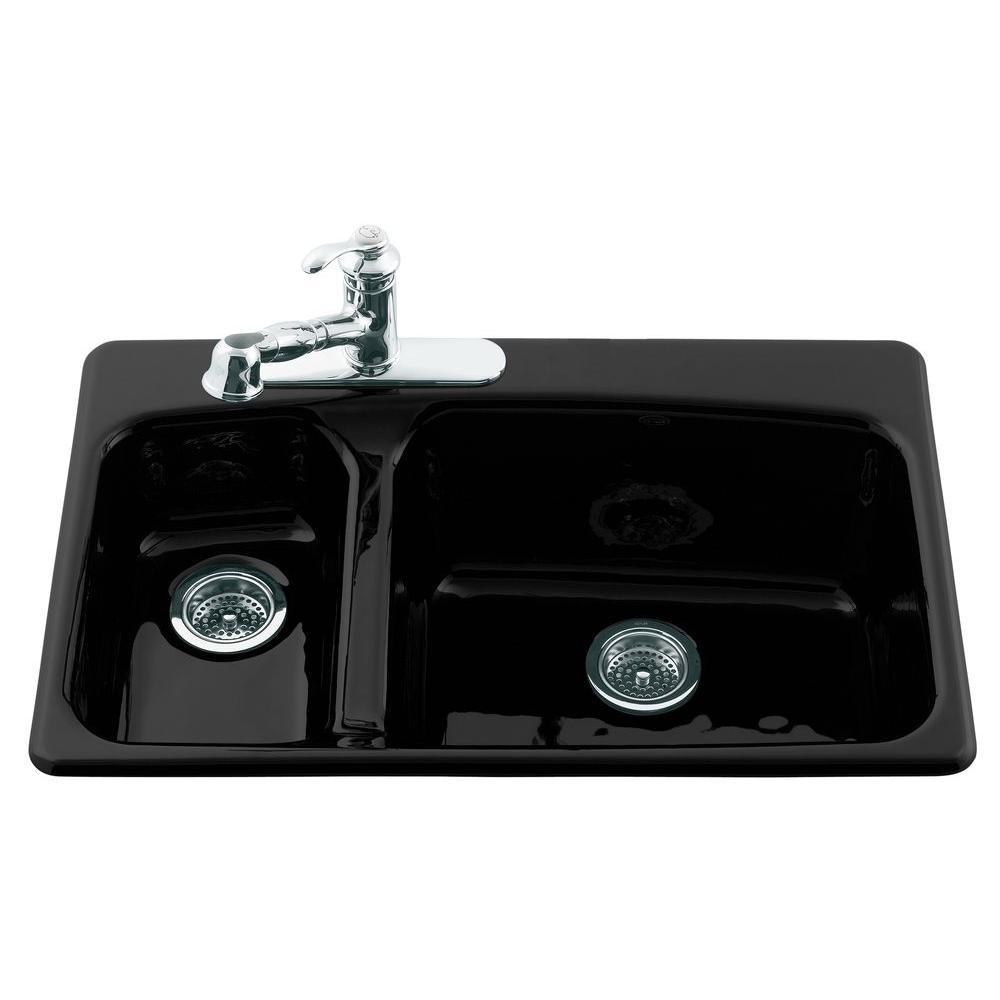 KOHLER Lakefield Self-Rimming Cast Iron 33x22x10.25 3-Hole Kitchen Sink in Black Black-DISCONTINUED