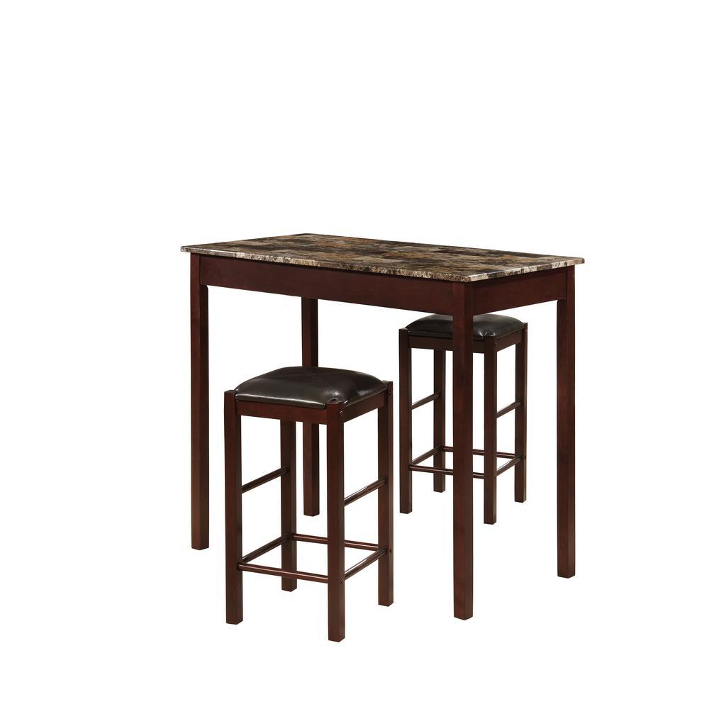 Tavern 3-Piece Espresso Bar Table Set