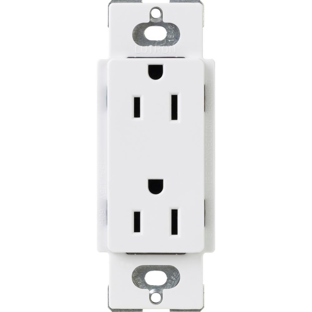 Claro 15 Amp Duplex Outlet, White