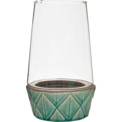 Vidro 5.5 in. W x 9.5 in. H Glass Terrarium with Teal Ceramic Dish