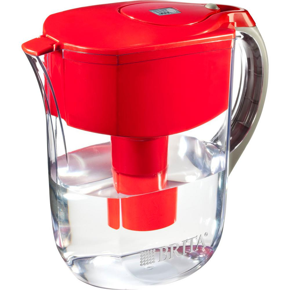 brita 10 cup filtered water pitcher in red 6025835658. Black Bedroom Furniture Sets. Home Design Ideas
