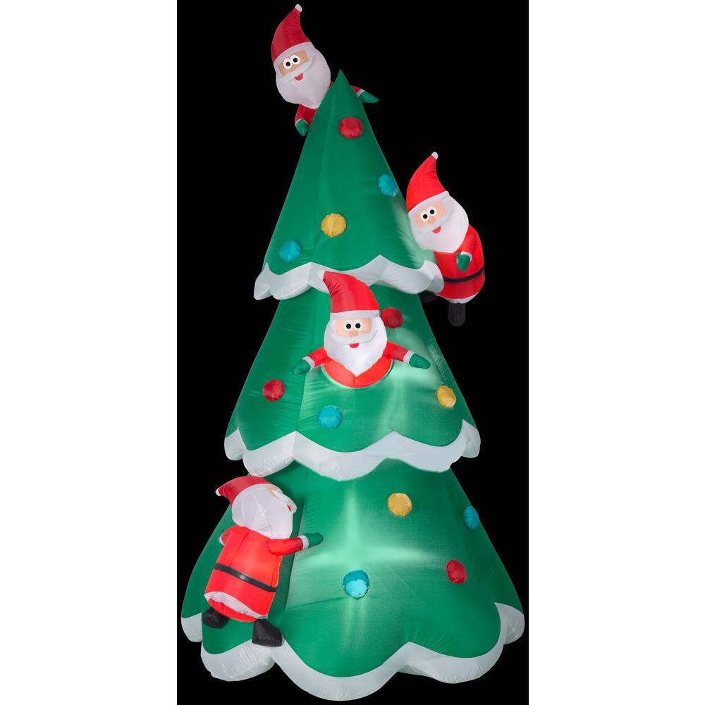 9 ft. Inflatable Christmas Airblown Christmas Tree of Many Santa's Scene