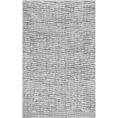 Sherill Modern Ripples Gray 8 ft. x 12 ft. Area Rug