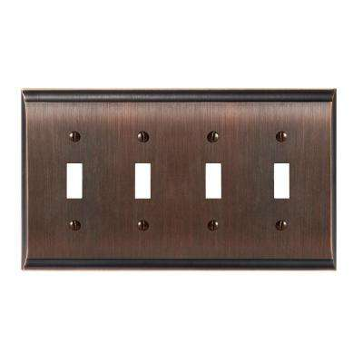 Candler 4-Toggle Wall Plate, Oil-Rubbed Bronze