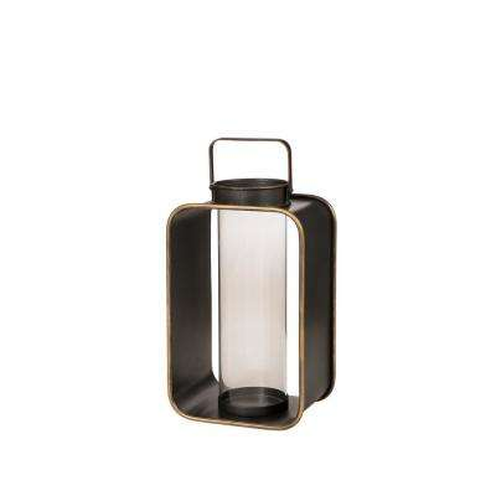 19.29 in. H Brown Industrial Metal Lantern