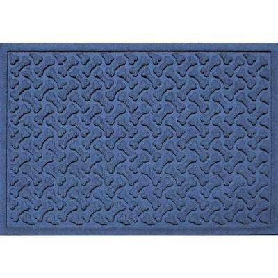Navy 24 in. x 36 in. Dog Bone Repeat Polypropylene Pet Mat