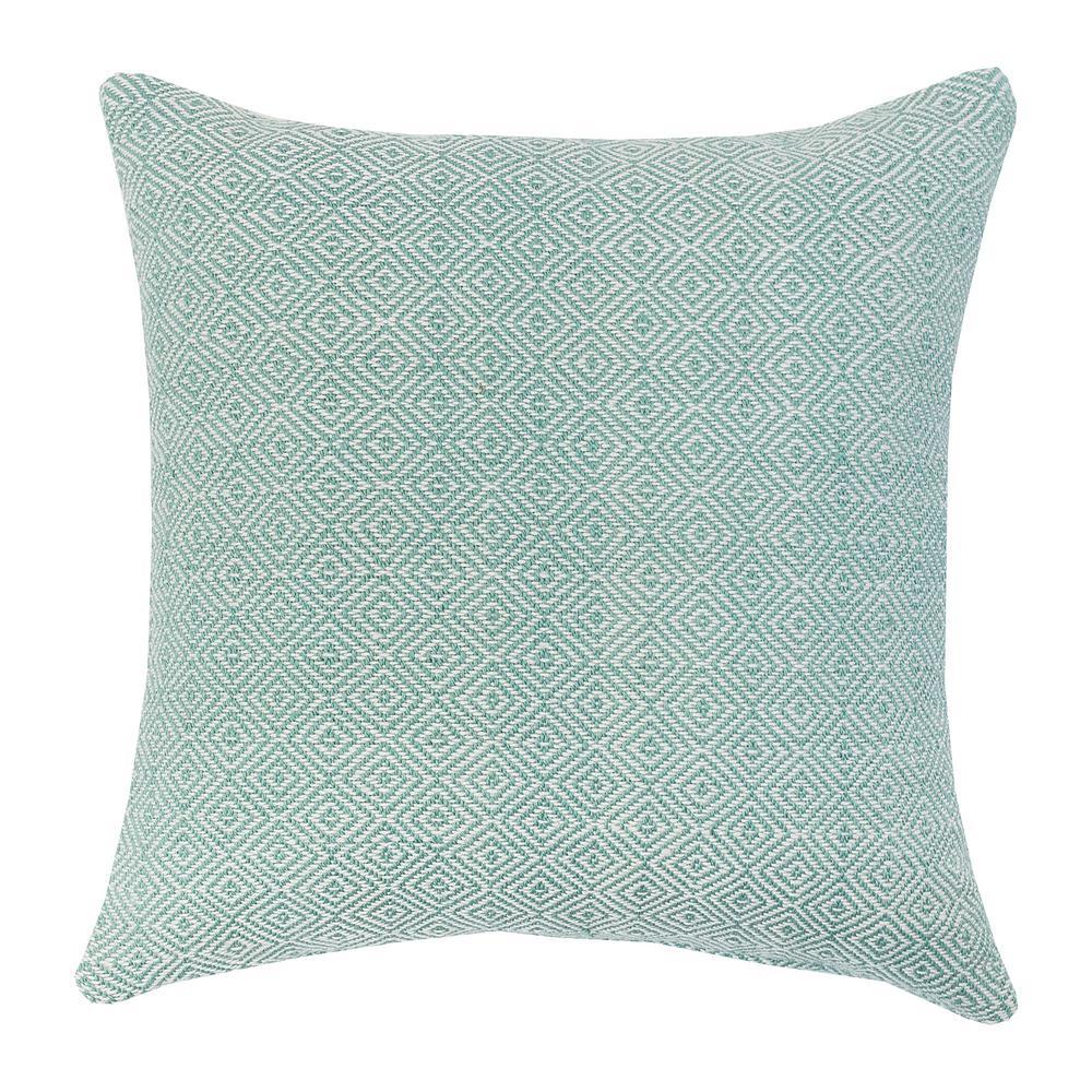 Diamond Sea Glass Sea Glass Green Solid Down Alternative 18 in. x 18 in. Throw Pillow