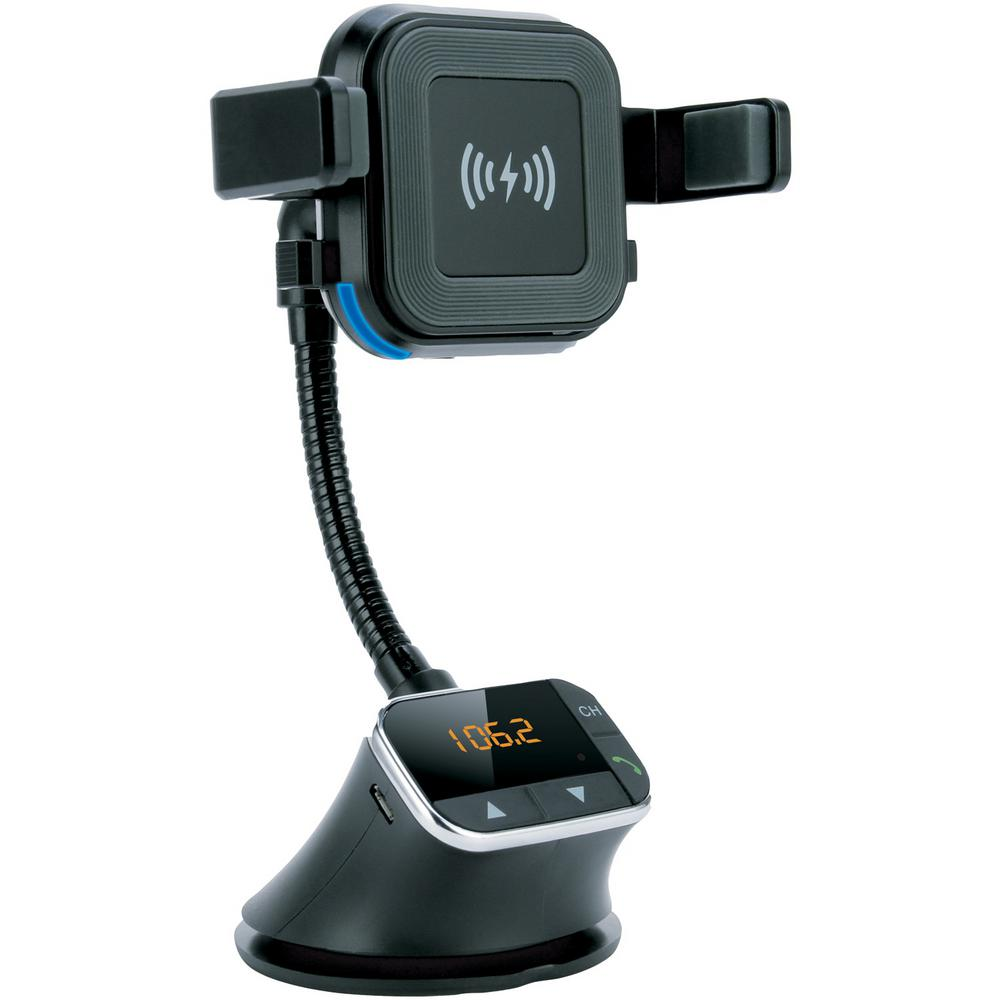 Supersonic Bluetooth Qi Charging Mount with FM Transmitter, Black