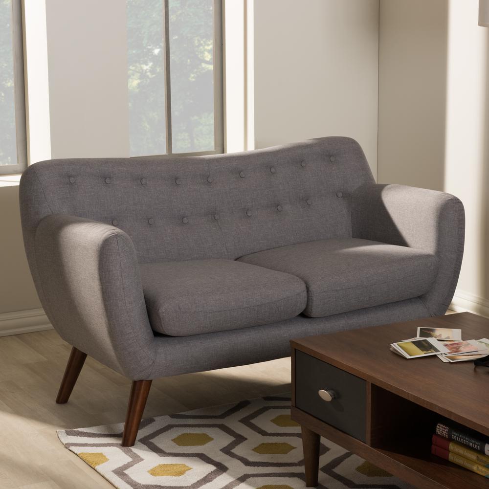 harper midcentury gray fabric upholstered loveseat