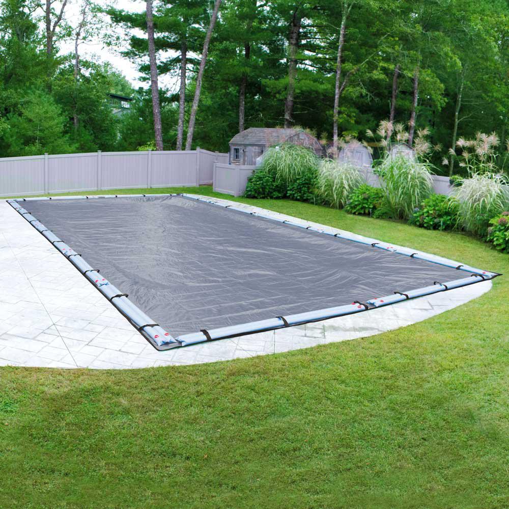Commercial-Grade 25 ft. x 50 ft. Rectangular Slate Blue In Ground Pool Winter Cover