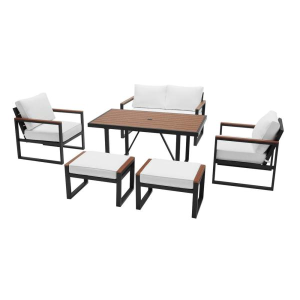 Hampton Bay West Park 6 Piece Aluminum Rectangle Outdoor Dining Set With Cushionguard White Cushions 501 0605 000 The Home Depot
