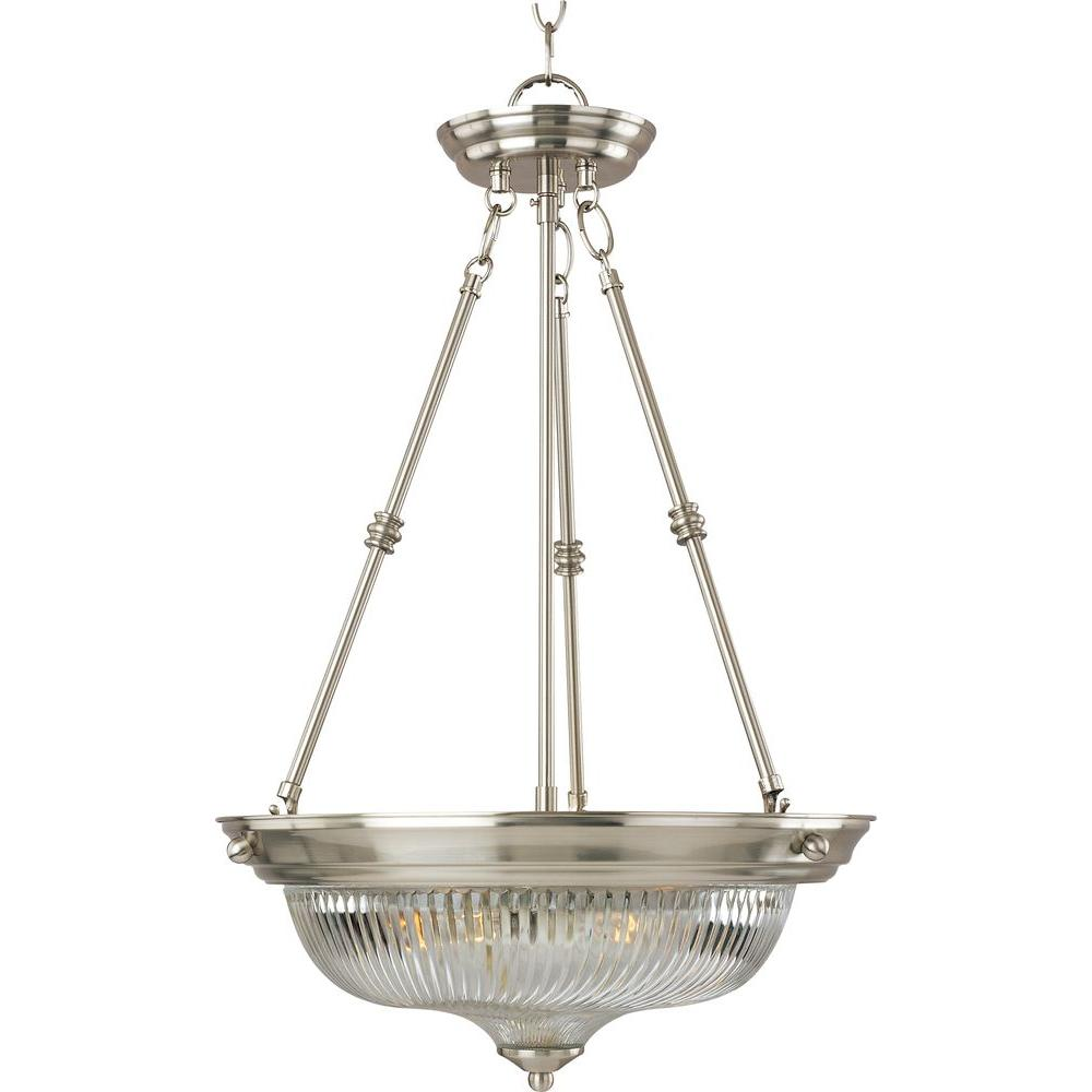 Maxim Lighting Essentials 3 Light Satin Nickel 582x Invert Bowl Pendant