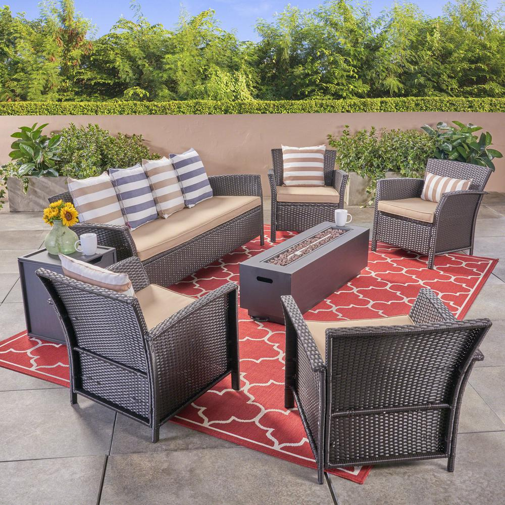Noble House St. Lucia Brown 7-Piece Wicker Patio Fire Pit ...