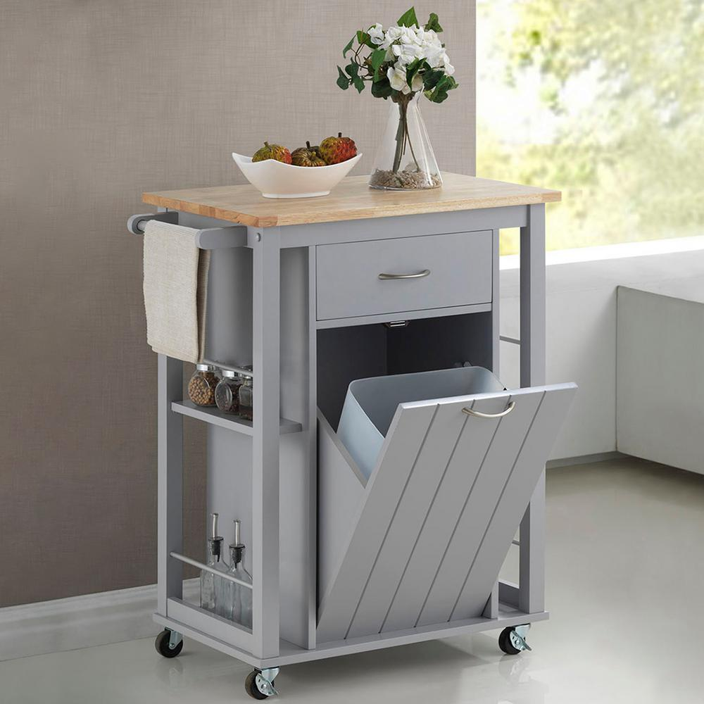 Baxton Studio Yonkers Gray Kitchen Cart With Wood Top