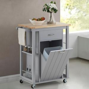 Baxton Studio Yonkers Gray Kitchen Cart with Wood Top by Baxton Studio