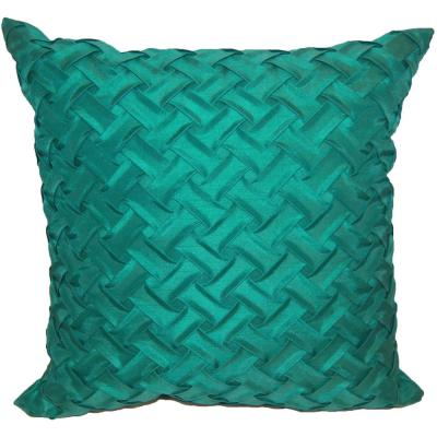 Lattice Teal Geometric Polyester 18 in. x 18 in. Throw Pillow