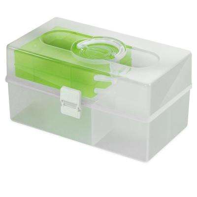 14.6 in. x 9 in. Hobby and Crafts Portable Storage Box with 2-Fold Out Organizer Tray in Green