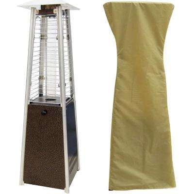 9500 BTU Hammered Bronze Mini Pyramid Tabletop Propane Patio Heater with Weather-Protective Cover