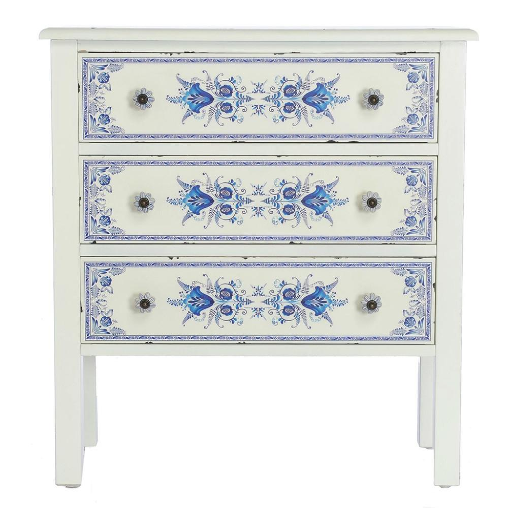 River Of Goods French Countryside Blue And White Cabinet With 3 Drawers