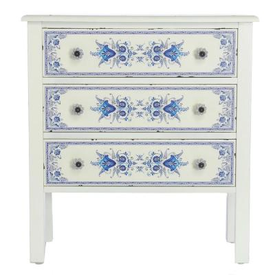 French Countryside Blue and White Cabinet with 3-Drawers