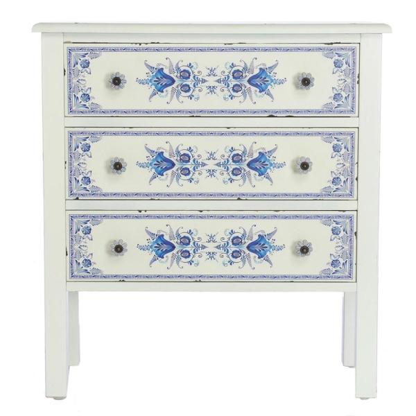 River of Goods French Countryside Blue and White Cabinet with 3-Drawers