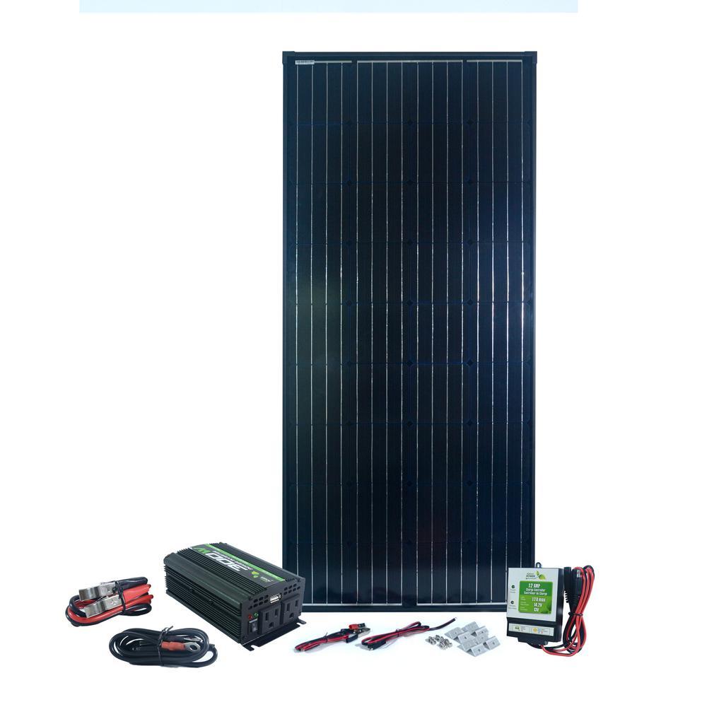 180-Watt MonoCrystalline Solar Panel with 300-Watt Power Inverter and 12 Amp Charge Controller